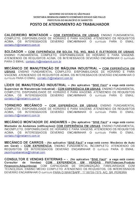VAGAS DE EMPREGO DO PAT BARRETOS PARA 05-11-2020 PUBLICADAS DE MANHÃ - Pag. 9