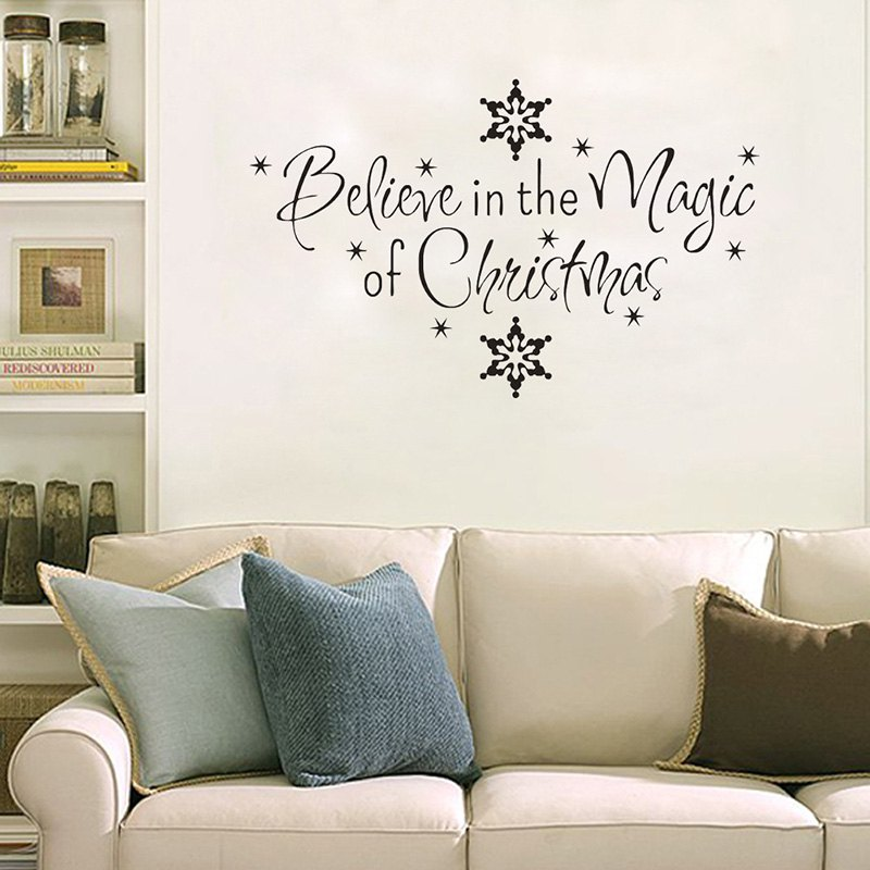 Stunning Christmas Letter Snowflake Wall Stickers For Living Room