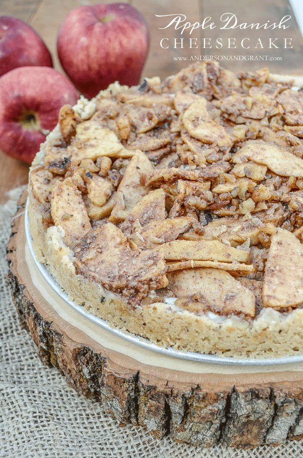 Apple Danish Cheesecake with a Walnut Almond Crust |  www.andersonandgrant.com