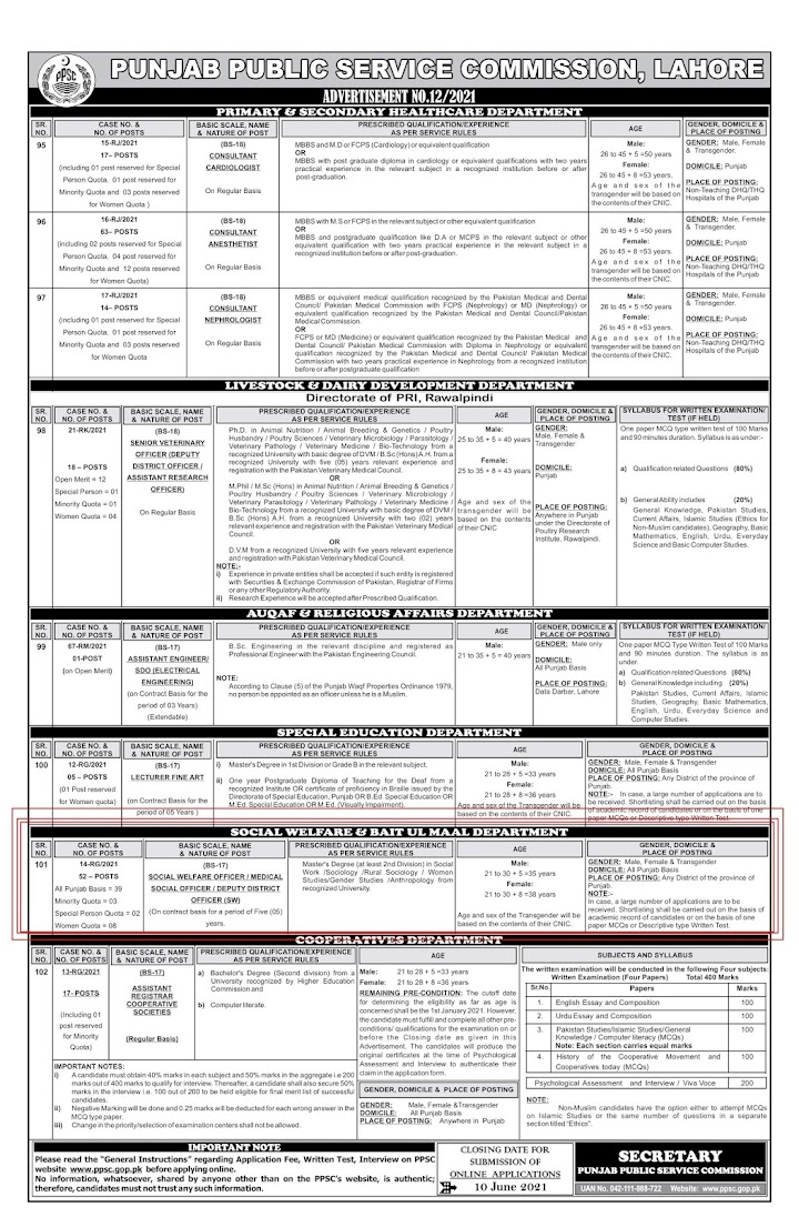 Latest Jobs in  Social Welfare and Bait Ul Maal Department  2021 - Apply Online PPSC
