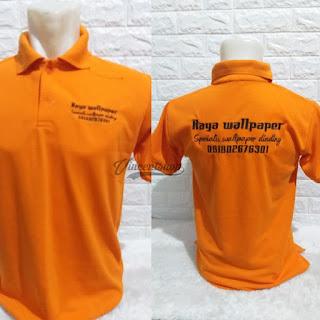 Kaos Polo Bordir Seragam Orange Lengan Pendek