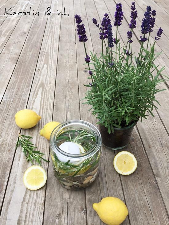 Deko Zitronen Tischdeko Rosmarin Weckglas Lavendel