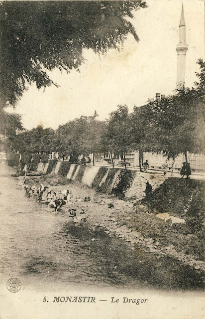 "Dragor river with washerwomen . The image was taken from ""Lenski"" Bridge around 1917."