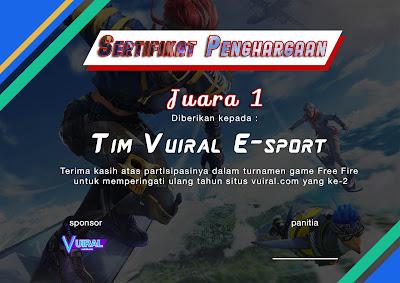 Download Mentahan Contoh Sertifikat Turnamen Free Fire (FF) Keren Versi 1