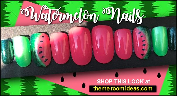 Watermelon nails JUICY watermelon false nails nail design fruit