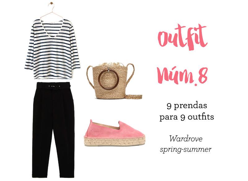 combina camiseta de rayas pantalon negro outfit numero 8 estilo tendencias primavera verano