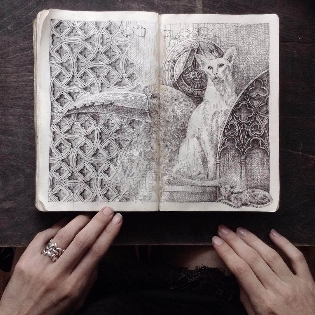 01-Gothic-Architecture-Lena-Limkina-Intricate-Moleskine-Drawings-with-Cats-www-designstack-co