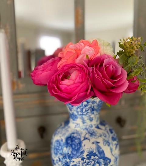 faux pink ranunculus bouquet chinoiserie vase