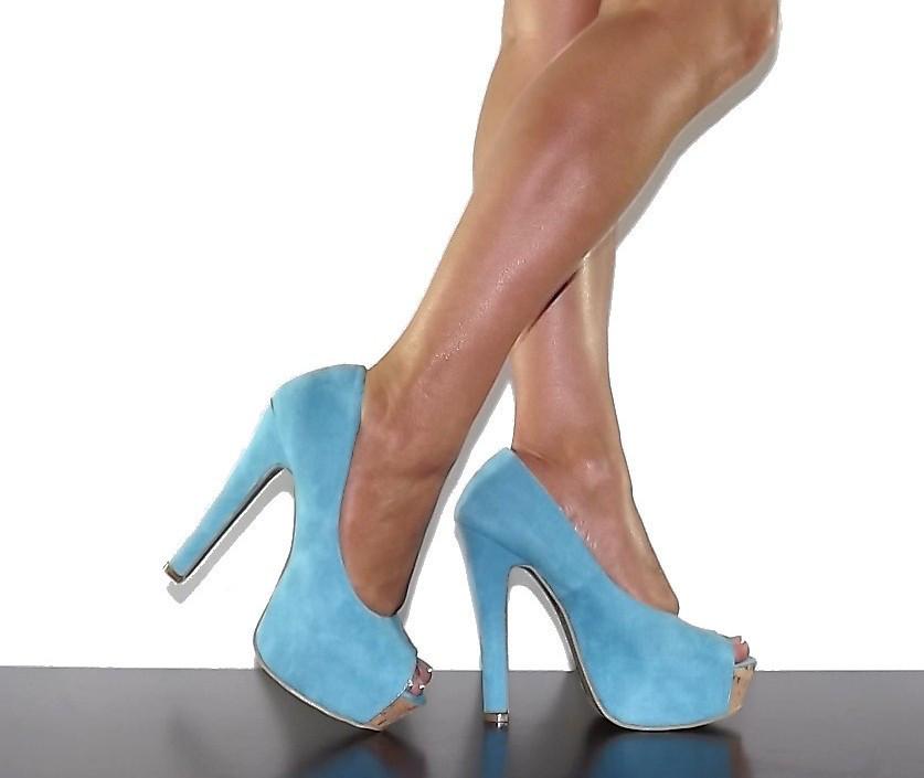 high heels sandals light blue - photo #3