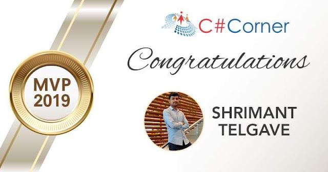 Awarded C# Corner MVP Award (Shrimant Telgave)