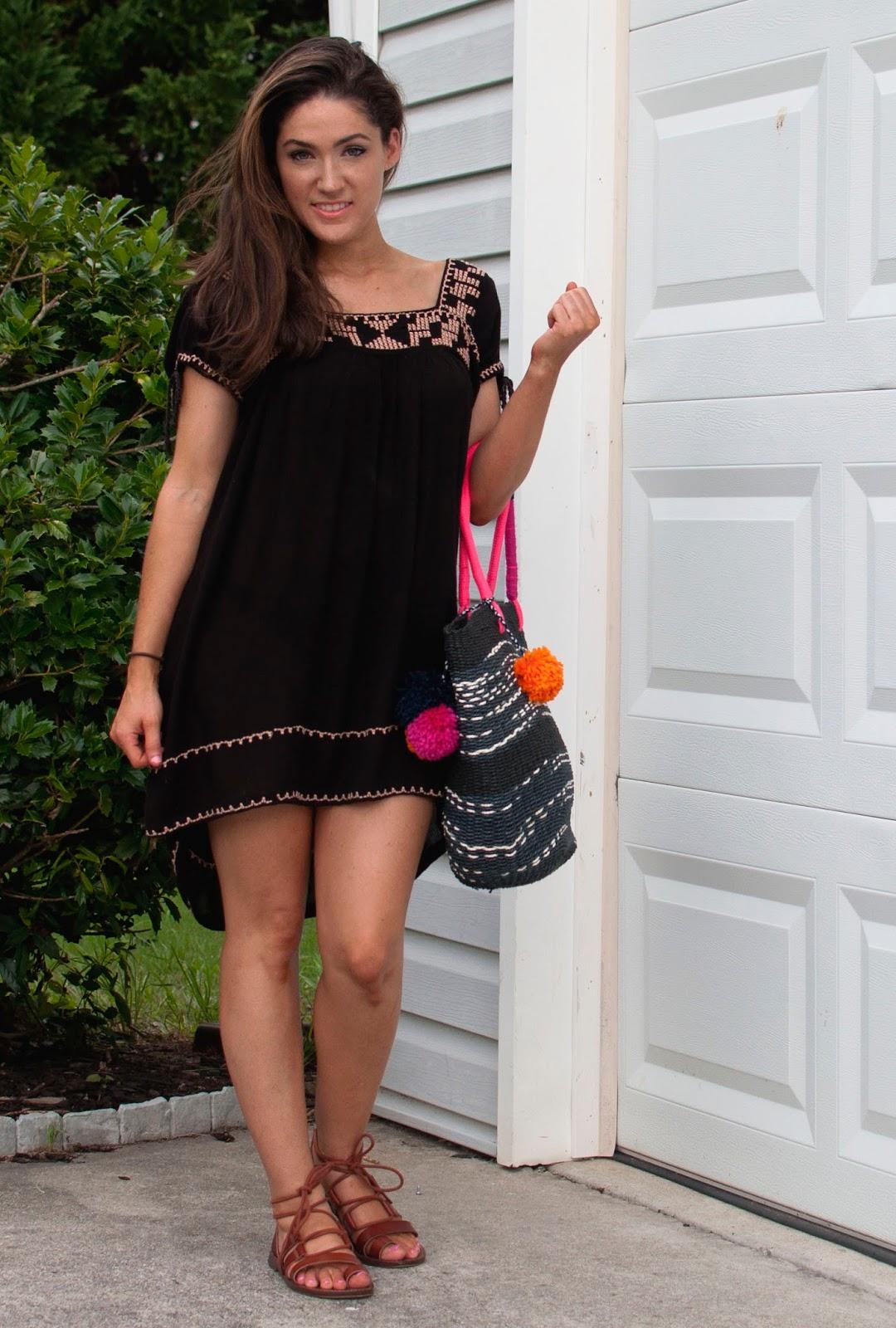 babydoll dress, boho summer dress, petite fashion, forever 21 babydoll dress, pom pom bag