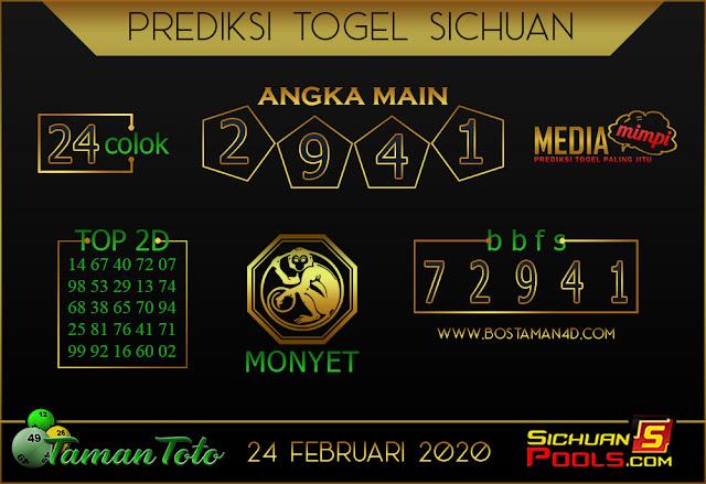 Prediksi Togel SICHUAN TAMAN TOTO 24 FEBRUARY 2020