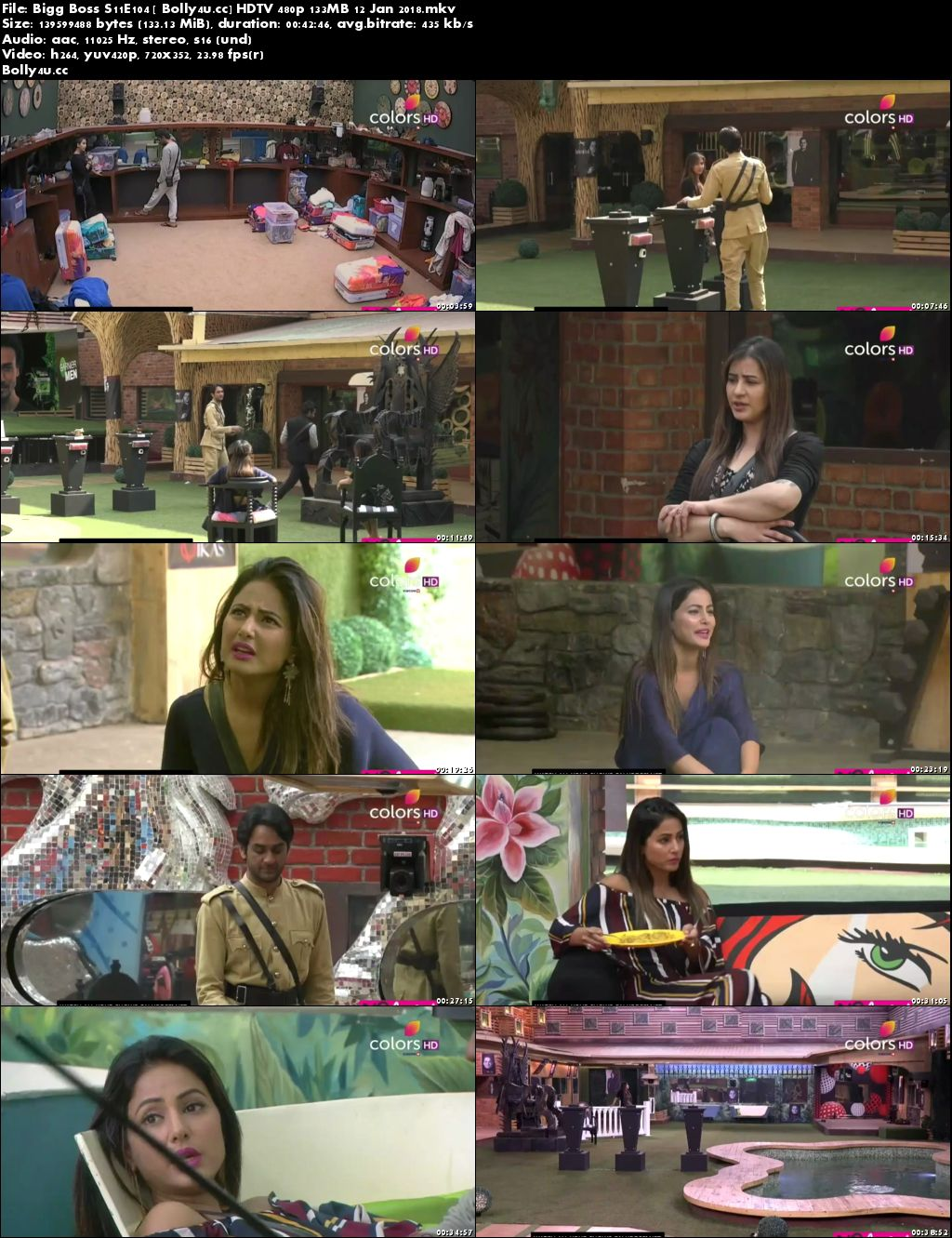 Bigg Boss S11E104 HDTV 480p 130MB 12 January 2018 Download