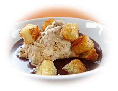 cake croutons, leftover cake, ice cream and chocolate sauce