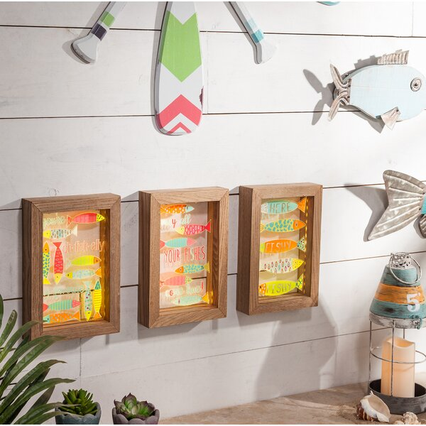 3 Piece Ast Fish Acrylic Wall Decor Set