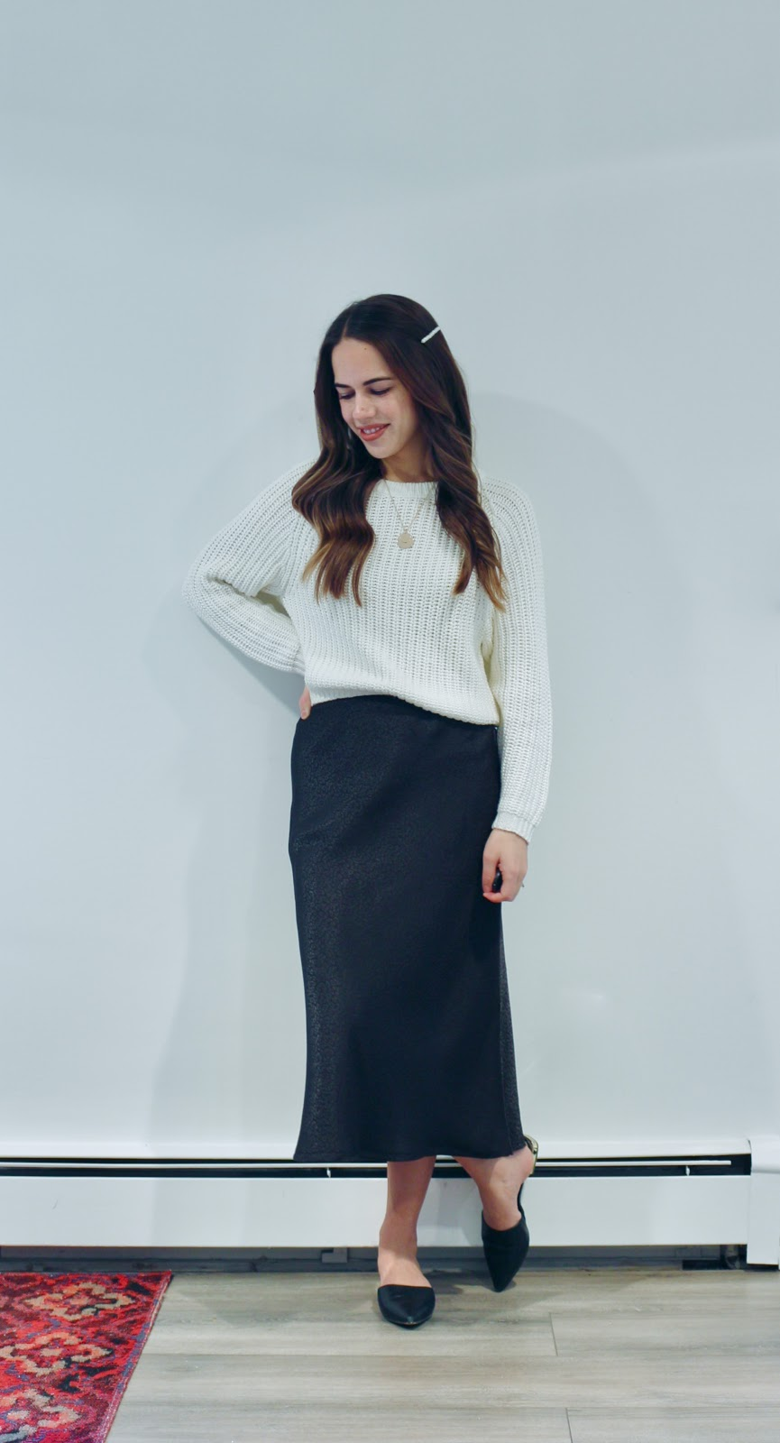 Jules in Flats - Jacquard Midi Skirt with Cropped Sweater (Business Casual Winter Workwear on a Budget)