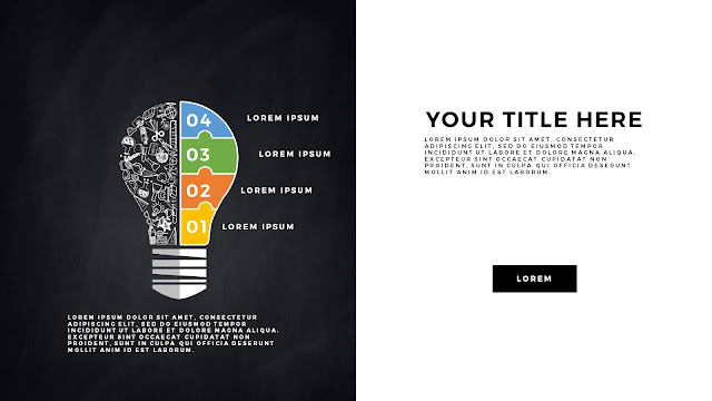 Infographic Education Light Bulb Elements Free PowerPoint Template Slide 12