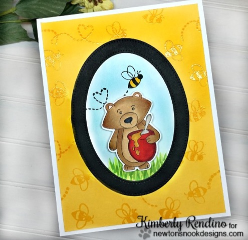 Bear and Honey card by Kimberly Rendino | Winston's Honeybees stamp set by Newton's Nook Designs #newtonsnook