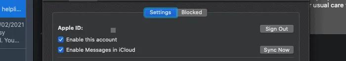 تسجيل الخروج من iMessage في macOS.