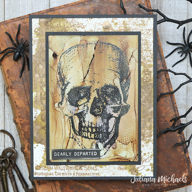 Dearly Departed Halloween Card by Juliana Michaels featuring Tim Holtz Stampers Anonymous Rest In Peace Stamp Set and Alcohol Ink
