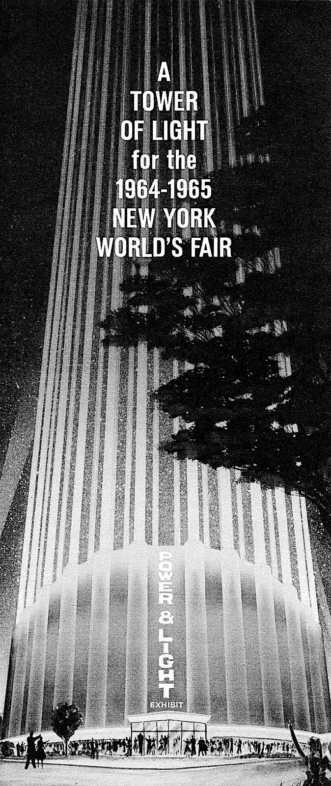 the 1964 New York Worlds Fair Tower of Light, an illustration of the Power and Light Exhibit