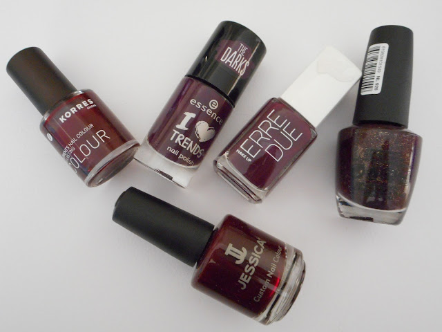Jessica #691 Street swagger, Essence #16 well plum!, Korres #59 Dark Red, OPI #926 Stir-fried Eggplant, Erre Due #254 Purple Rain