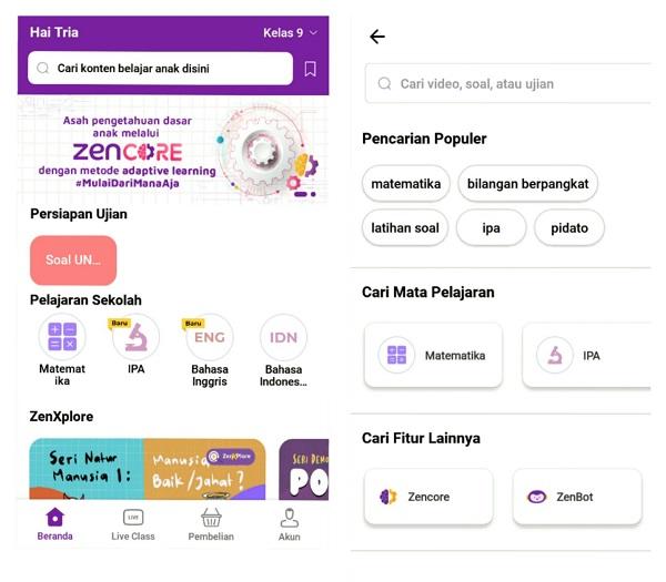 Fitur ZenCore dalam aplikasi Zenius