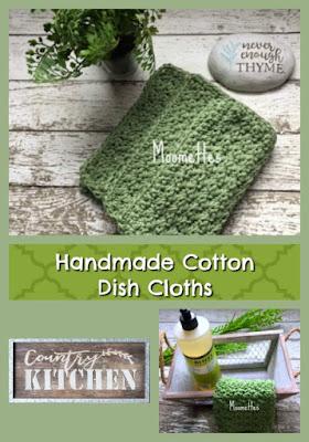Handmade Cotton Dish Cloths Sage Green Washcloths