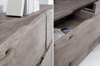 komody Reaction, nábytek ze dřeva a kovu, velké komody
