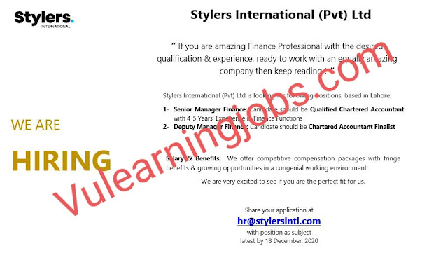 Styler's International (Pvt) Ltd Jobs 2020 In Pakistan For Senior Manager, Deputy Manager Latest