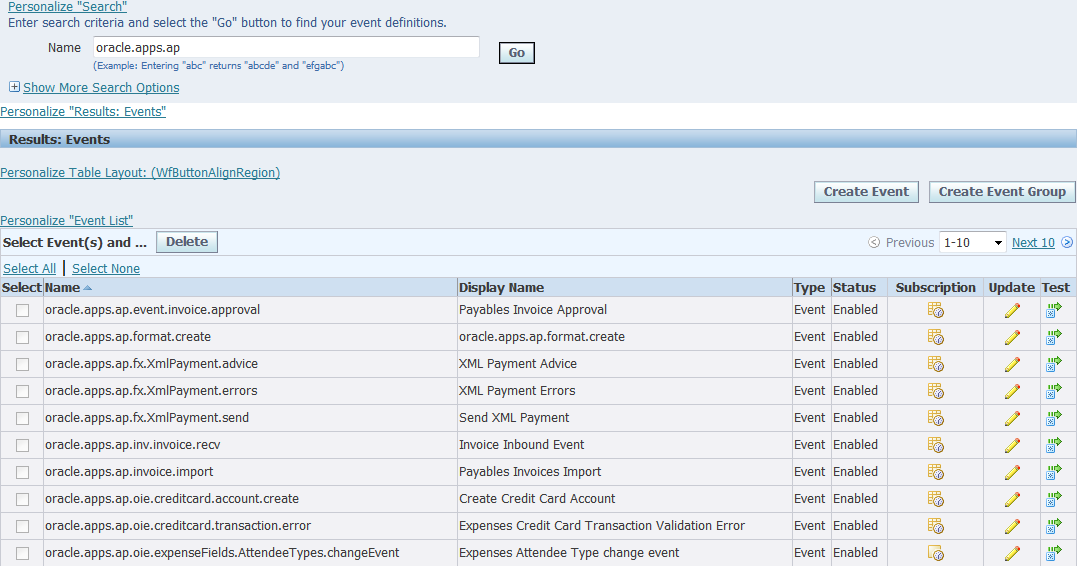 amox :: oracle: Workflows to subscribe to business events