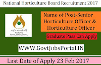 National Horticulture Board Recruitment 2017 –Senior Horticulture Officer, Horticulture Officer