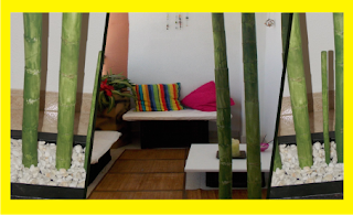 Jardinera con bambú hecho de cartón
