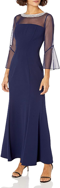 Long Navy Blue Mother of The Groom Dresses