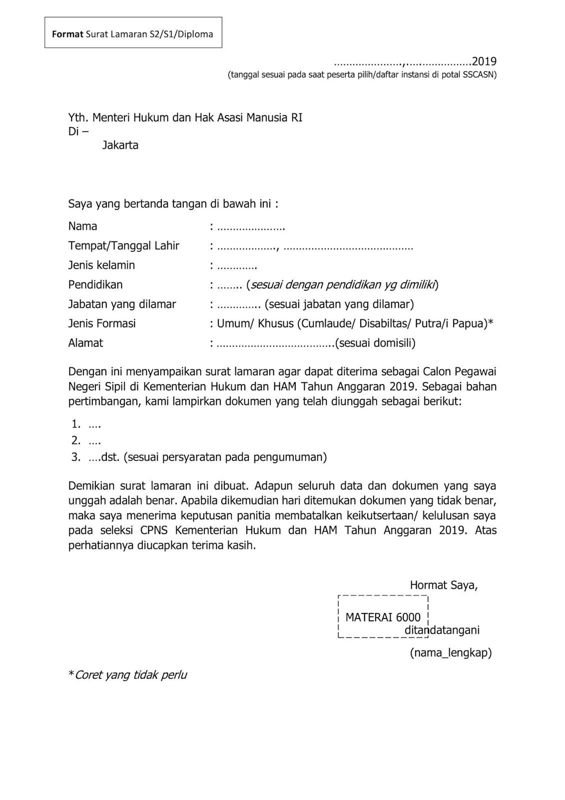 contoh lengkap surat lamaran cpns 2019 surat pernyataan