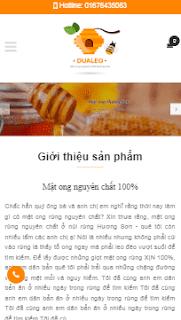 Giao diện blog giới thiệu bán hàng sản phẩm Mật Ong