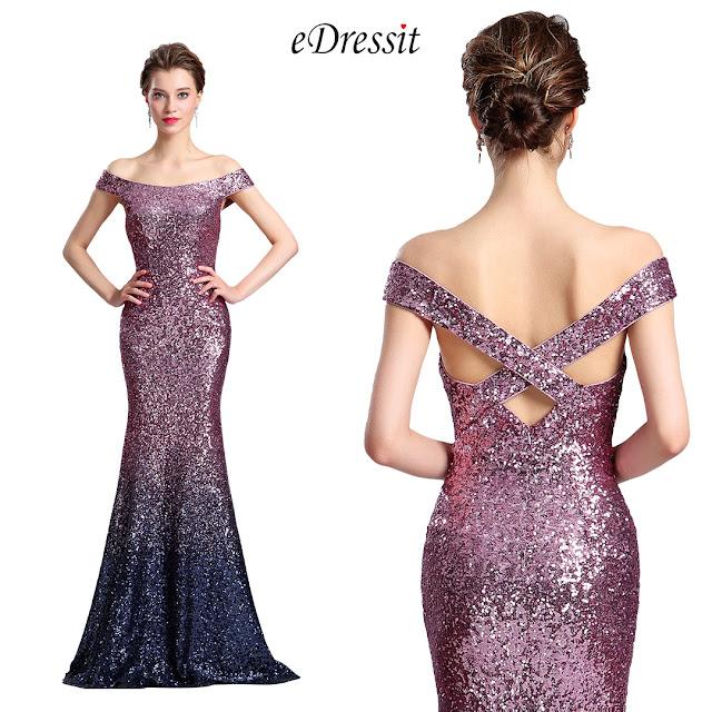 edressit elegant off the shoulder sequin evening dress