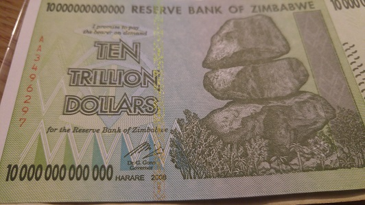 A Zero Short Ten Trillion Dollar Banknote Issued By The Reserve Bank Of Zimbabwe