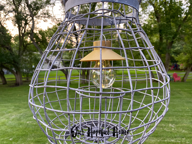 large wire outdoor patio candle hanging lantern