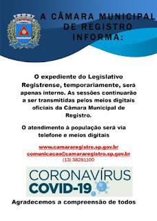 Câmara acata orientações do Ministério da Saúde e da OMS e adota medidas preventivas no atendimento à população