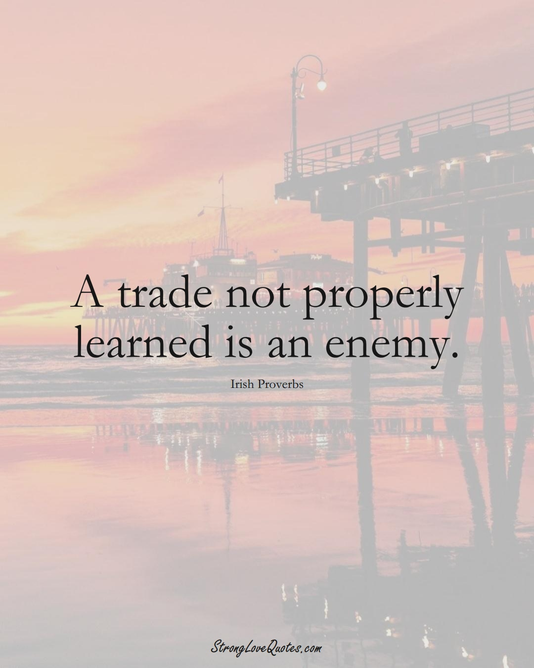 A trade not properly learned is an enemy. (Irish Sayings);  #EuropeanSayings
