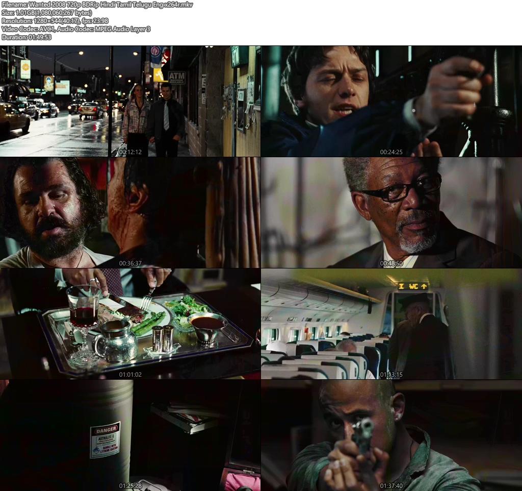Wanted 2008 720p BDRip Hindi Tamil Telugu Eng | 480p 300MB | 100MB HEVC Screenshot