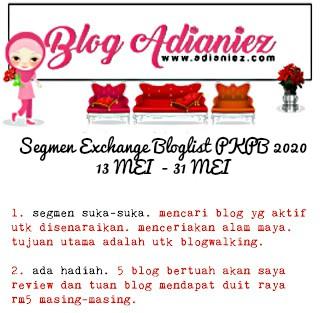 Jom Blogwalking & Follow | Peserta Segmen Exchange Bloglist PKPB 2020 by Blog Adianiez
