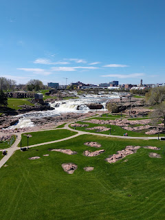 view from observation tower at Falls Park in Sioux Falls, South Dakota
