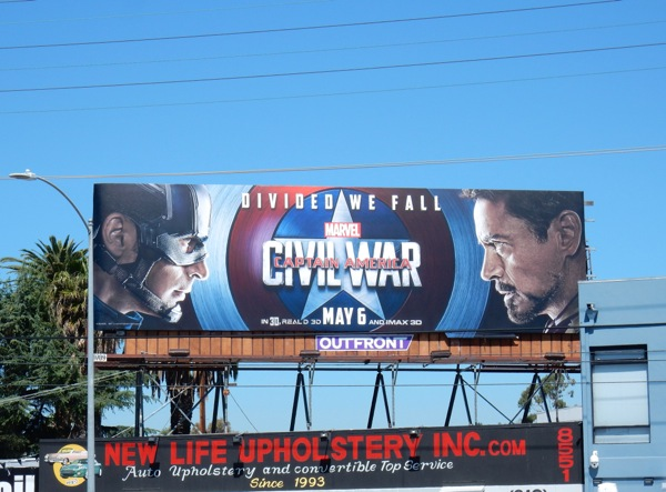 Captain America Civil War divided we fall billboard