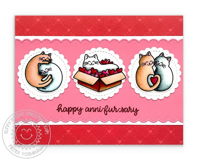 Sunny Studio Blog: Red & Pink Kitty Cat Punny Anniversary Card (using Meow & Furever Stamps, Slimline Pennant Dies, Scalloped Circle Mat 3 Dies & Very Merry Paper)