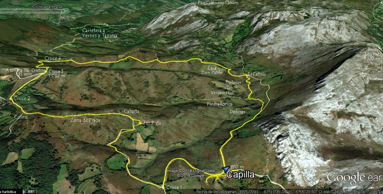 Mapa 1 ortográfico de la Ruta de Los Puertos de Marabio