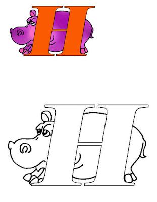 Mewarnai Alfabet Bahasa Inggris - H
