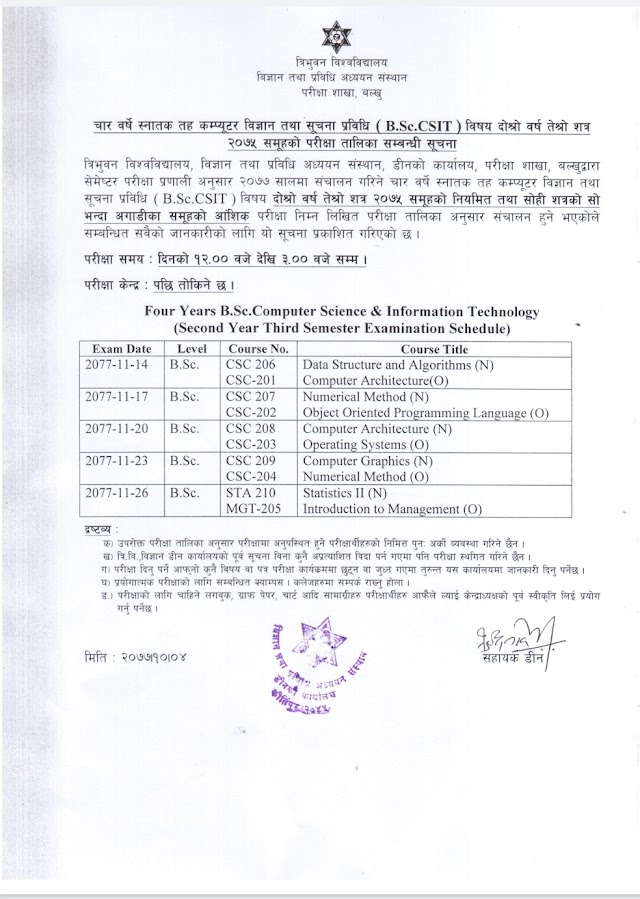 B.Sc.CSIT 3rd Semester Final Examination Routine - TU 2077