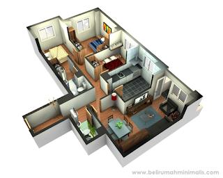 Contoh denah rumah minimalis 2 kamar 3D